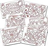 Kitchen Teacups Redwork Machine Embroidery Designs on CD