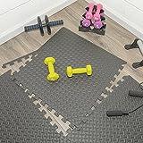 Ottomanson Multipurpose Anti-Fatigue Exercise Puzzle Mat Tiles - Interlocking EVA Foam Mat Tiles 2'x2'- 24 Sq. Ft. (Black, 6 Tiles + Borders)