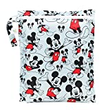 Bumkins Disney Mickey Mouse Waterproof Wet Bag, Washable, Reusable for Travel, Beach, Pool, Stroller, Diapers, Dirty Gym Clothes, Wet Swimsuits, Toiletries, Electronics, Toys, 12x14