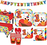 Party City 1st Birthday Elmo Party Kit for 16 Guests, Includes Table Covers, Table Decorating Kit and Banners