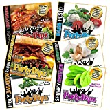 PartyDipz 6-Pak Gourmet Dip Mixes Party Pak- Bacon CheeseBurger, Heavenly HotWings, Basil Pesto, Fire-Roasted Garlic Fury, Holy Jalapeno & Spunky Spinach- Great Gift Idea