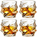 GLASKEY Unique Whiskey Glasses, Set of 4, 11 oz, Premium Scotch Glasses, Bourbon Glasses for Cocktails, Rock Style Old Fashioned Drinking Glassware, Perfect for Gifts