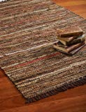 HF by LT Tucson Leather Rug, 24 x 36 inches, Handwoven Recycled Leather, Brown