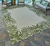 Gertmenian 21559 Nautical Tropical Carpet Outdoor Patio Rug, 5x7 Standard, Palm Tree Border Green
