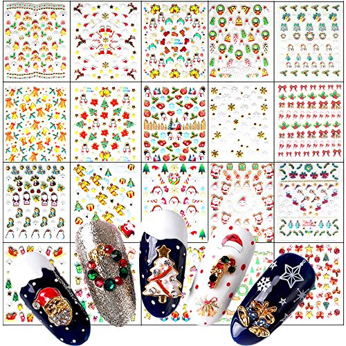 1000 Pieces 3D Metal Gold Christmas Nail Stickers Decals Decoration 24 Sheets Christmas Self-adhesive Design Nail Decals Santa Snowman Xmas Tree Stickers for Women DIY Manicure Tips Nail Art Supplies
