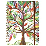 2020 Planner - Weekly & Monthly Planner with Tabs, 6.3' x 8.4', Hardcover with Back Pocket + Thick Paper + Banded, Twin-Wire Binding - Watercolor Tree