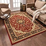 Noble Medallion Red Persian Floral Oriental Formal Traditional Area Rug 5x7 ( 5'3' x 7'3' ) Easy to Clean Stain Fade Resistant Shed Free Modern Contemporary Transitional Soft Living Dining Room Rug
