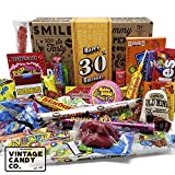 VINTAGE CANDY CO. 30TH BIRTHDAY RETRO CANDY GIFT BOX - 1990 Decade Childhood Nostalgic Candies - Fun Funny Gag Gift Basket - Milestone 30 THIRTIETH Birthday - PERFECT For Man Or Woman Turning THIRTY
