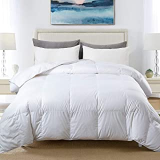 Cosybay 100% Cotton Quilted Down Comforter White Goose Duck Down and Feather Filling –..