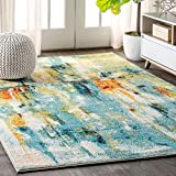 JONATHAN Y Contemporary POP Modern Abstract Waterfall Blue/Cream 8 ft. x 10 ft. Area Rug, Bohemian, Easy Cleaning, For Bedroom, Kitchen, Living Room, Non Shedding