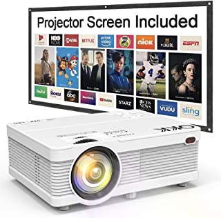 "QKK Mini Projector 5500Lumens Portable LCD Projector [100"" Projector Screen.."