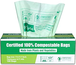 Primode 100% Compostable Trash Bags, 3 Gallon Food Scraps Yard Waste Bags, 100 Count,..