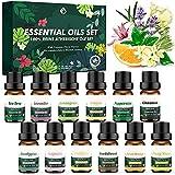 12 Pcs Aceites Essenciale Naturales,Set de Aceites Esenciales Florales Puros,Aceites de Aromaterapia...