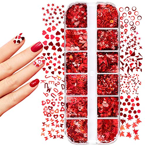 12 Grid/Set Laser Nail Sequins Holographic Nail Glitter Sequins Red Love Butterfly Maple Leaf Sparkly Nail Flakes, Lovers Wedding Face, Body and Eyes Decoration Sticker