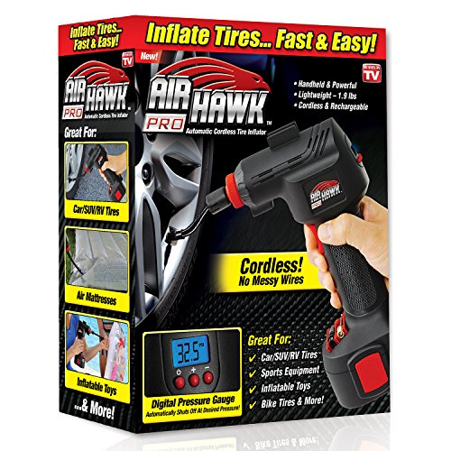 ONTEL Air Hawk Pro Automatic Cordless Tire Inflator Portable Air Compressor, Easy to Read Digital Pressure Gauge, Built in LED Light