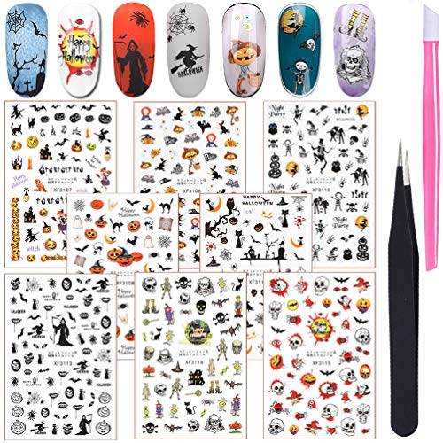 Halloween Nail Decals Art Sticker, KINGMAS 8pcs Pumpkin Skull bat Scary Nail Decals Self-Adhesive DIY Manicure Tips Decor Nail Stickers with Tools