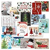 """Classic Christmas Card Assortments - Holiday Greeting Cards, Set of 32, Large 5"""" x 7"""", Sentiments Inside, Envelopes Included"""