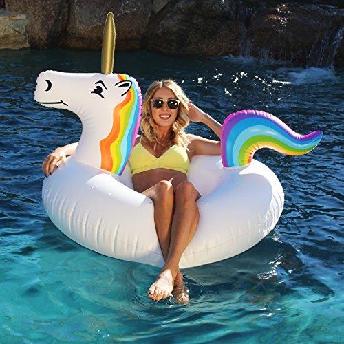 GoFloats Unicorn Pool Float Party Tube Inflatable - Adults & Kids Sizes