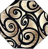 Bellagio Modern Octagon Area Rug Black Swirl Design 341 (7 Feet 3 Inch X 7 Feet3 Inch)