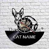 fdgdfgd Negro Retro CD Reloj Gatito Gato Reloj de Pared Disco de Vinilo Reloj de Pared Diseño Moderno Gato Colgante de Pared Art Deco Regalo | Sorpresa Antes de Navidad
