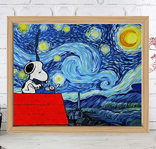 Starry Night Snoopy Limited Poster Artwork - Professional Wall Art Merchandise - Peanuts, TV Show, Charlie Brown
