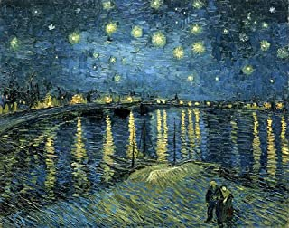 Wieco Art Starry Night Over The Rhone by Van Gogh Famous Oil Paintings Reproduction..