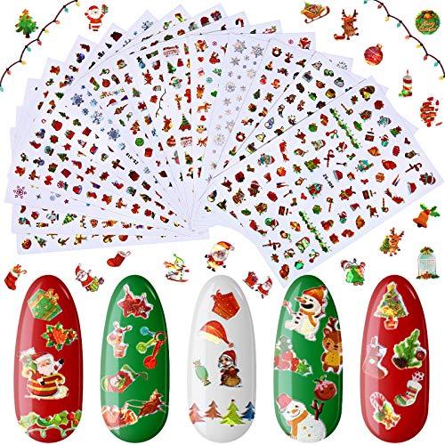 16 Sheets Christmas Nail Art Stickers 3D Nail Self-adhesive Stickers Colorful Christmas Nail Decals Laser Snowflake Tree Santa Nail Art Stickers for Female Girl Christmas Nail Art Decoration