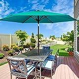 MOVTOTOP Patio Umbrella 9Ft UPF 50+ Premium Outdoor Table Umbrella, Market Umbrella with Push Button Tilt and Crank for Garden, Deck, Backyard and Pool (Green)