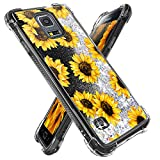 Miss Arts for Galaxy S5 Case,Girls Women Flowing Liquid Holographic Holo Glitter Shock Proof Case Girly Reinforced Shockproof Protective Cover for Samsung Galaxy S5 -Sunflower