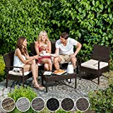 Poly Rattan Sitzgruppe Gartenset mit 2 Stühlen Bank Tisch mit Glasplatte - 6
