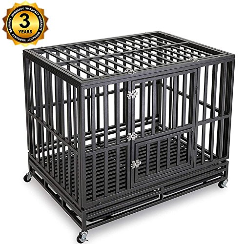 Gelinzon Dog Cage Crate - Heavy Duty Strong Metal Kennel Playpen for Large Dogs with Four Wheels