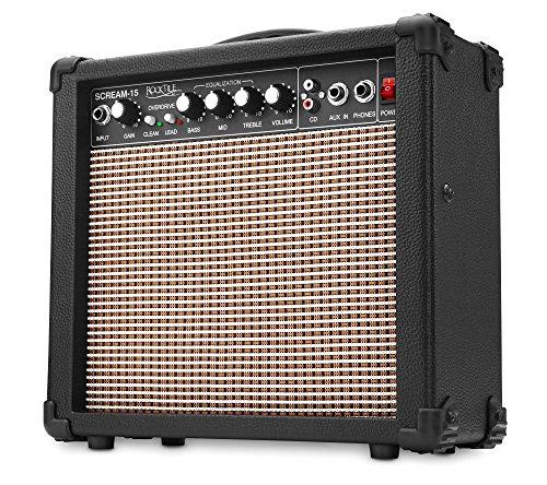Rocktile Scream-15 Amplificatore per Chitarra, Ingresso AUX (6,5 mm), Uscita Cuffie (6,5 mm), Nero
