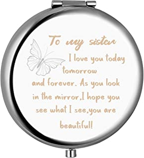 Sister Gifts from Sister Brother,To My Sister Engraved Compact Mirror with Inspirational..