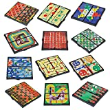Gamie Magnetic Board Game Set Includes 12 Retro Fun Games - 5' Compact Design - Individually Boxed - Teaches Strategy & Focus - Great for Road Trip/ Travel/ Camping - Best Gift for Kids Ages 6+
