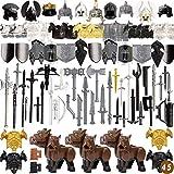 Vengo 82St. Ritter Helm, Ritter Weste und Custom Waffen Set für Ritter Mini Figuren SWAT Team Polizei, kompatibel mit Lego