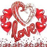 Jonami Décoration Romantique,1 Ballon Love XXL,1 Balloon Coeur Geant, 6 Ballons...