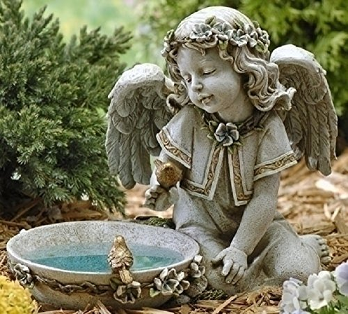Joseph Studio 62852 Tall Angel Sitting By Solar Bird Bath Statue, 11-Inch