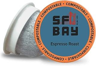 SF Bay Coffee Espresso Roast 80 Ct Dark Roast Compostable Coffee Pods, K Cup Compatible..