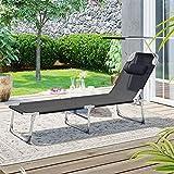 Sonnenliege Liegestuhl Gartenliege mit Kopfstütze und Sonnendach Rückenlehne verstellbar - 3