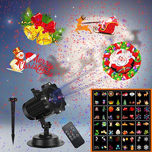 Christmas Lights,UNIFUN 16 Patterns LED Projector Lights with red...