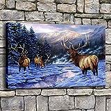 wZUN Invierno Bosque Nieve Alce Naturaleza Reno Pintura Superior Lienzo impresión Animal Paisaje imágenes decoración del hogar Arte de Pared 50x70cm
