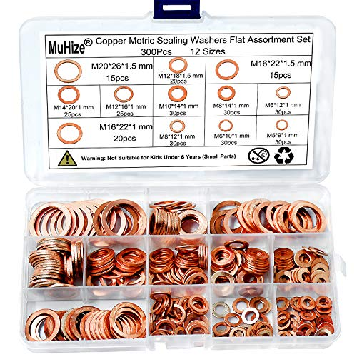 Muhize 300PCS 12 Sizes Copper Metric Sealing Washers Flat Washers Assortment Kit (M5 M6 M8 M10 M12 M14 M16 M20)