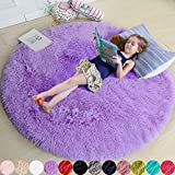 Purple Round Rug for Bedroom,Fluffy Circle Rug 5'X5' for Kids Room,Furry Carpet for Teen's Room,Shaggy Circular Rug for Nursery Room,Fuzzy Plush Rug for Dorm,Purple Carpet,Cute Room Decor for Baby