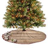 Alfombra para árbol de Navidad, con diseño de árbol de primavera, con rama, de madera, para decoración de fiesta, añade un poco de sensación de invierno a la sala de estar, color rosa y verde, 122 cm