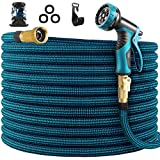 WHIMSWIT 100FT Garden Hose Expandable Hose, Flexible Water Hose with Spray Nozzle, Car Wash Hose with Solid Brass Connector, Leakproof Lightweight Expanding Pipe for Watering and Washing