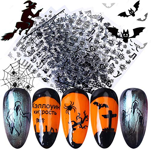 9 Sheets Halloween Nail Art Stickers - 3D Black Self Adhesive Nail Decals Ghost Pumpkin Grimace Skull Eye Spider Face Nail Stickers DIY Nail Decorations for Halloween Party