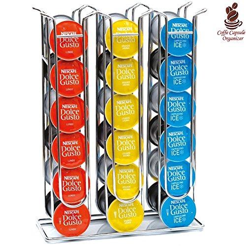 Bakaji Stand Porta Capsule Caffè Dolce Gusto Inserimento Verticale In Metallo Silver (36 Posti)