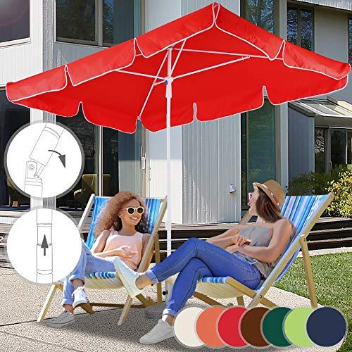 Sonnenschirm 180 x 120 cm - Rechteckig, Farbwahl, UV-Schutz - Gartenschirm, Marktschirm, Balkonschirm, Terassenschirm