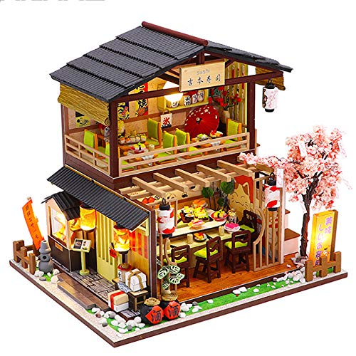 Fsolis Miniatura casa delle Bambole con mobili,3D Fai da Te Kit di Dollhouse di Legno Oltre a Prova di Polvere e Il Movimento della Musica Regalo Creativo M2011