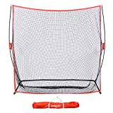 GoSports Golf Practice Hitting Net   Huge 7' x 7' Personal Driving Range for Indoor or Outdoor Swing Practice   Designed by Golfers for Golfers, Red
